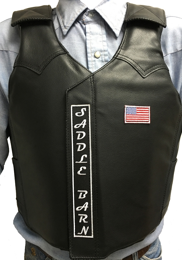 leather protective bull riding vest by saddle barn rodeo vest