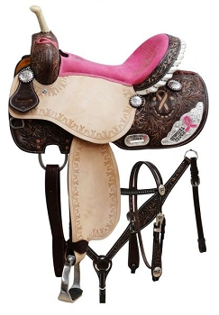 Cowgirl Tough Pink Ribbon Saddle Set