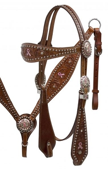 Pink Hope Ribbon Headstall and Breast Collar