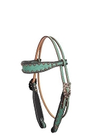 Teal Elephant Browband Headstall w/ Copper Bullets