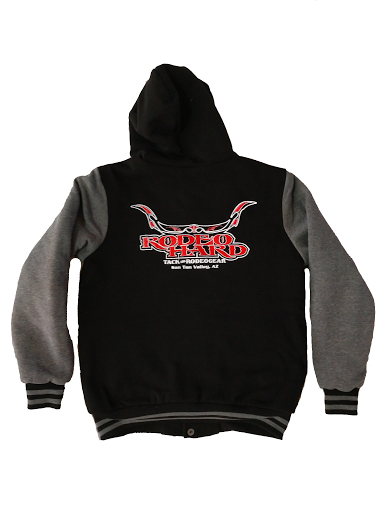 Rodeo Hard Gray and Black Hoodie Jacket with Sheep Skin