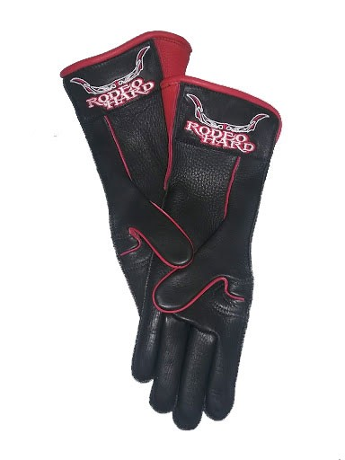 Rodeo Hard Deerskin Leather Bull Riding Gloves Long Cuff Outseam