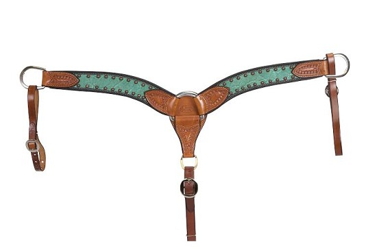 2″ Teal Elephant Breast Collar w/ Copper Bullets