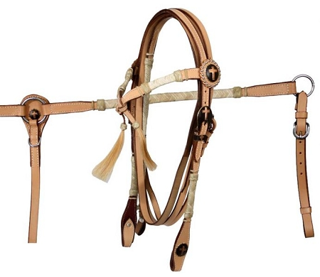 Braided Rawhide and Furturity Knot Headstall