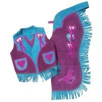 Premium Youth Chap and Vest Set with Running Horse and Heart Design