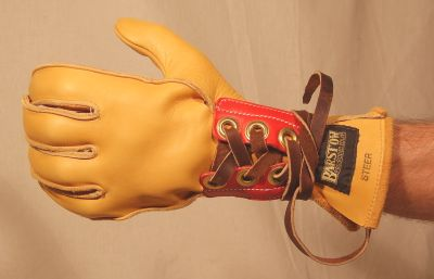 Bareback Glove- Steer Hide Lace-Up