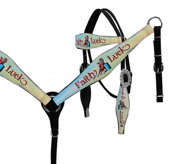 Hand Painted Faith Luck Headstall and Breast Collar Set