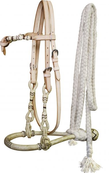 Showman™  Rawhide core show bosal with a cotton mecate rein.